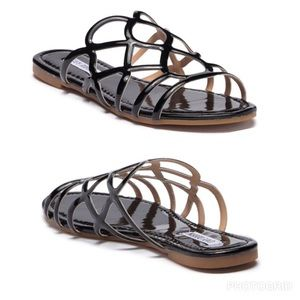 Shoes - PATENT LEATHER SLIP ON & STEP TRENDY AWAY SANDAL